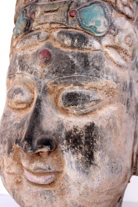 Ming Terracotta Head Of Bodhisattva
