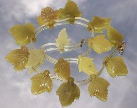 Jadeite Carved Leaf Necklace
