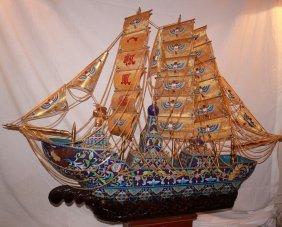 Large Royal Cloisonne Ming Dynasty Ship