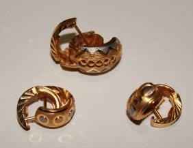 3 Pair Earrings 21k Solid Gold Italian Made