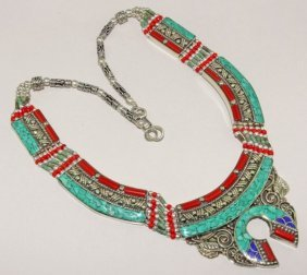 Exclusive Tibetan Turquoise & Red Coral .925 Silver