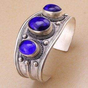 Oval Lapis Lazuli Stone Bead Cuff Bracelet Bangle