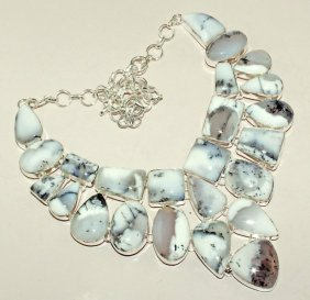 Amazing Amazing Dendrite Opal Silver Necklace