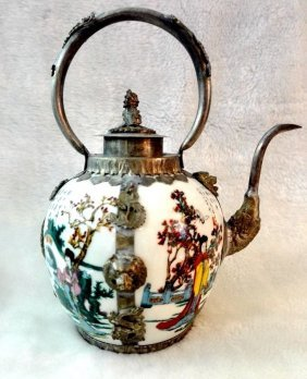 Totem Teapot Tibet Silver Carved White Porcelain