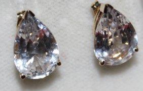 Stunning Pear-shaped White Sapphire Earrings