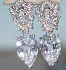 White Pear-shaped Sapphire And Diamond Earrings 14 Kg
