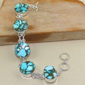 Copper Turquoise Silver Bracelet