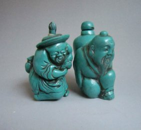 Decorated Turquoise Carved Snuff Bottles