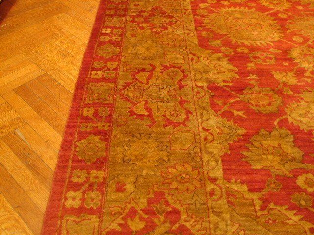 12x15 Peshawar OUSHAK CORAL RED NEW Wool Rug Lot 49
