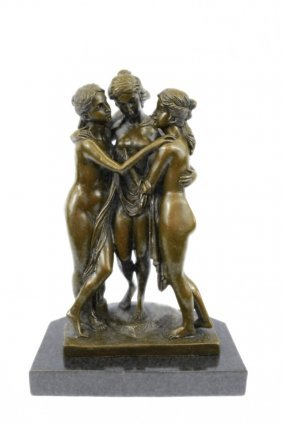 Solid Bronze Sculpture On Marble Base