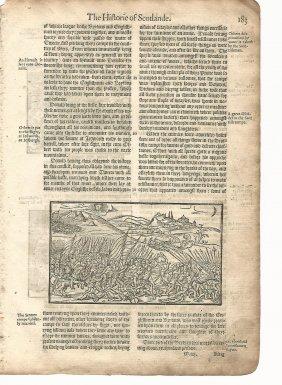 1577 Holinshed Leaf Woodcut Scotland Battle