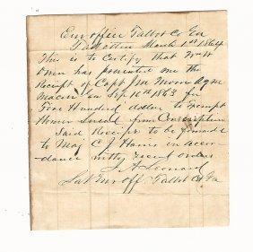 1864 Confederate Manuscript Exemption From Conscription