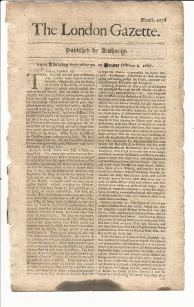 1686 London Gazette Poland Military News