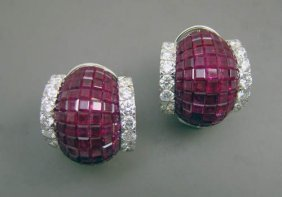 Pair Of 18kwg, Ruby And Diamond Earclips