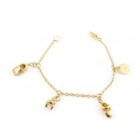 Gucci 18k Yellow Gold Charm Bracelet Featuring An