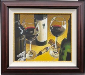 Wine Bottle & Glasses Still Life Of Painting, Dark Wood