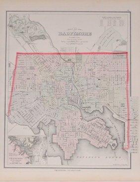 Gray's New Map Of Baltimore, 1876