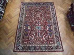 Handmade 7x11 Oriental Persian Heriz Wool Rug 1950's