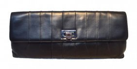 Chanel Black Pleated Lambskin Leather Clutch