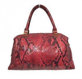 Judith Leiber Vintage Red Snakeskin Doctor Bag