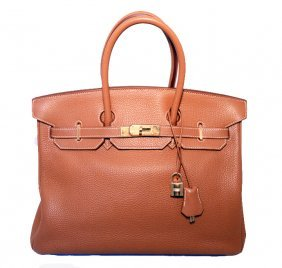 Hermes Tan 35cm Clemence Leather Birkin Bag With Gold