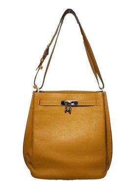 Hermes Tan Clemence 35cm So Kelly Shoulder Bag