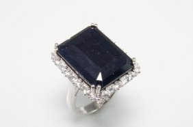 Platinum Plated Sterling Silver And Sapphire Ring