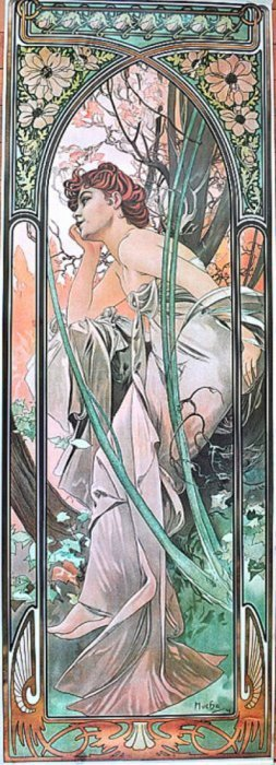 "Alfonse Mucha 1862 - 1937 From ""time Of Day"". #4 1975"