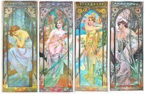 Alfonse Mucha 1862 - 1937 Set Of 4 Time Of Day 1975