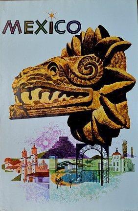 Mexico Travel Vintage Poster 1963 Penn Prints New York