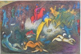 Chagall Double Page Original Litho Printed By Mourlot