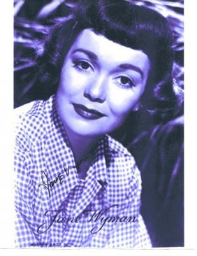 Jane Wyman - First Regan's Wife Photo W/ Certificate