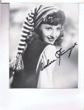 Barbara Stanwyck - 8 X10 Photo W/ Certificate