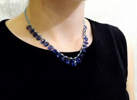 Kyanite,turquoise & Cultured Pearl Necklace Designer