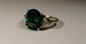 Faux Emerald Diamonds Sterling Silver Ring Size 7 Very
