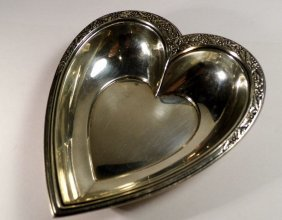 Vintage American Sterling Silver Ring Tray Heart Shape