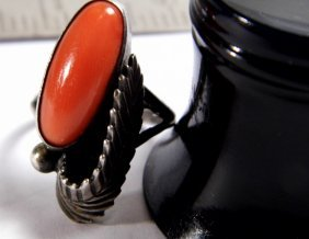 Monogram As Native American Sterling Silver Coral Ring