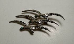Vintage Sterling Silver & Turquoise Pin Brooch Seagulls