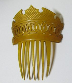 19th Century Carved Horn, Victorian Hair Comb