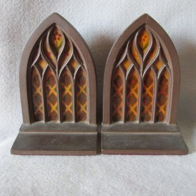 C1920s Stained Glass Window Gothic Bookends