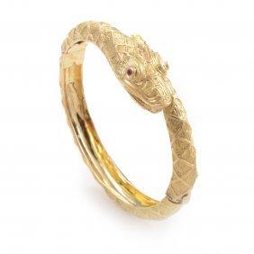 Ilias Lalaounis 18k Yellow Gold Diamond & Ruby Bangle
