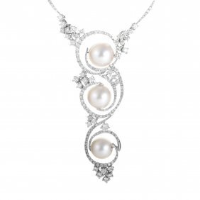 18k White Gold Diamond & Pearl Swirl Pendant Necklace