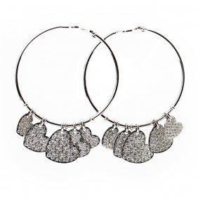 18k White Gold & Diamond Hoop Heart Earrings
