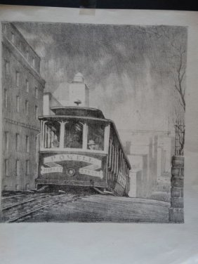 Frederic Watts Lithograph: San Francisco Cable Car P809