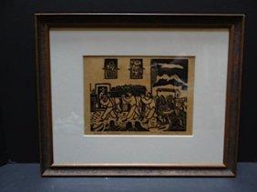 """W. H. Brown Block Print """"indian Funeral"""" P345"""