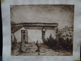Joe Reed (1916 – 1963) Etching Titled Spanish House