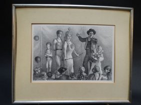 Circus Drawing Signed In Printing Bw002