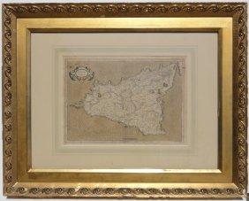Map Of Sicily, C. 1630