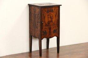 Music Cabinet, 1900 Antique Burnt Wood Beethoven