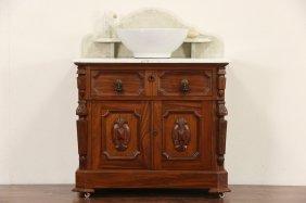 Victorian Renaissance 1870 Antique Marble Top Commode,